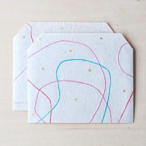 刺繍糸入り和紙封筒|あかみどり 2枚入り