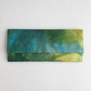黒谷和紙の三つ折りスリム財布(深海)