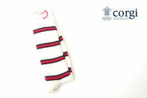 コーギー|corgi|ソフトコットンカジュアルソックス|靴下|ボーダー柄|ホワイト×レッド