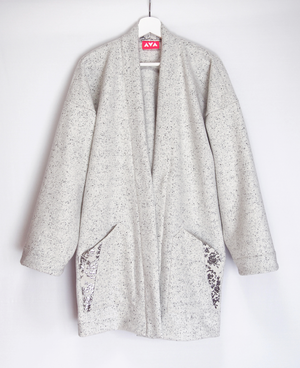 granite white wool haori coat