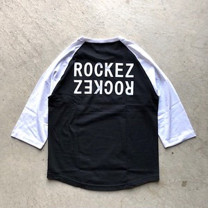 "ROCKEZ ""Double Logo"" 3/4 Raglan Sleeves Tee -BLACK×WHITE-"