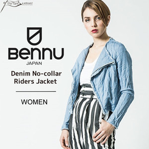 【BENNU】Denim No-collar Riders Jacket