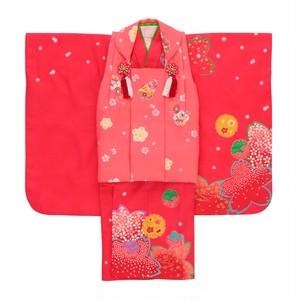 【3歳】七五三/節句 被布セット 大胆桜模様 ピンク【レンタル着物】