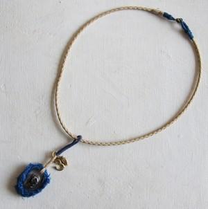 ガネーシャ ネックレス 藍染め青02