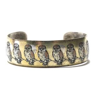 Reed & Barton Damascene Vintage Pewter Owl Bangle