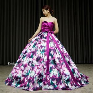 ウエディングドレス(パニエ付)上半身サテンプリーツ&スカート花柄/披露宴/演奏会