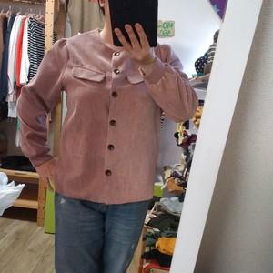 韓国レディース服☆コーデュロイノーカラーシャツ