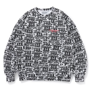 BLACK EYE PATCH / STICKER-COVERED CREW SWEAT
