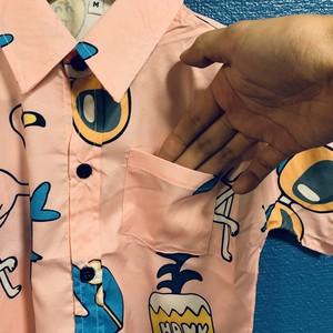 ポップアートパイナップル&フラミンゴのキッズアロハシャツ