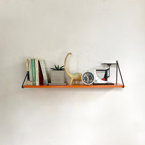 Orange Painted Wood Wall Shelf 70's オランダ