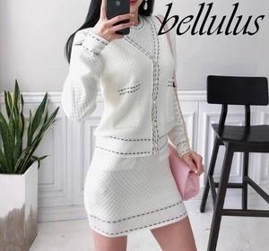 ニットセータードレスセット V ネック パールボタン カーディガンコート+半袖ドレス