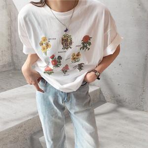 フラワーTシャツ | 韓国服 手書き風 花 プリント S M L XL 韓国服