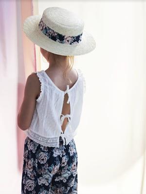 tocoto vintage (Sleveless plumeti blouse with lace trim )