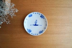 砥部焼/5寸皿/バレリーナ青/森陶房Kaori