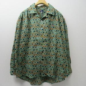 Lady's go slow caravan オープンカラーギャザーたくさんシャツ  COL,花柄