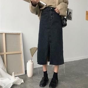 【bottoms】話題沸騰中カジュアル膝下丈スリットハイウエススカート