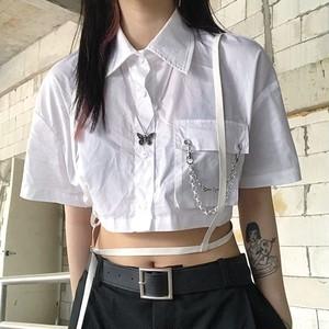 【トップス】ストリート系半袖シングルブレストPOLOネックシャツ29530611