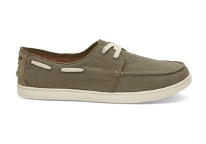 TOMS MEN'S /   OLIVE WASHED CANVAS CULVER LACE-UPS