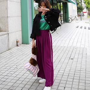 【秋冬新作】ウエストタックサイドラインオーバーワイドパンツ