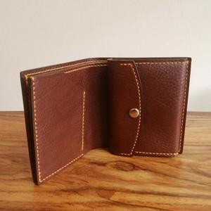 2つ折り財布小銭入れ付き イタリアンレザー 手縫い