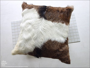 毛皮クッションカバー PUTI-1 ハラコ 天然皮革 ハンドメイド 正方形 北欧 本皮 手作り レトロ調 45cm×45cm