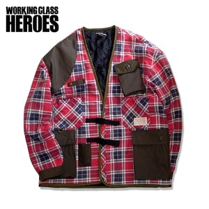 WCH Remake Quilting Flannel Gardening Jacket -Red/Olive/Navy