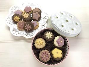 お花のクッキー缶  (ブーケ缶 ピンク)  クッキーギフト(横浜ウォーカー掲載品)