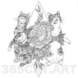 """タトゥーシール/猫の絵、イラスト猫雑貨・""""最高のご褒美"""" Cat Tattoo"""