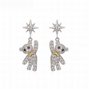 くまのピアス クリスタル キラキラ 韓国アクセサリー レディース ピアス クマ くまちゃん アニマル 合金 金メッキ シルバー925 アクセサリー / Cute Bear Silver Needle Earrings (DTC-604380154001)