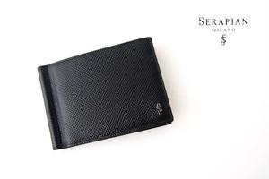 セラピアンミラノ|Serapian |マネークリップ付き6カードビルフォールドウォレット|エヴォリューション|ブラック