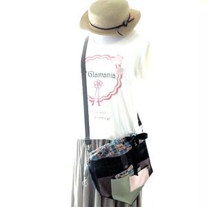 【夏の福袋4点セット】ポケット好きさんの為のペンタゴン(5角形)巾着ショルダーバッグ ネイビー×チェック