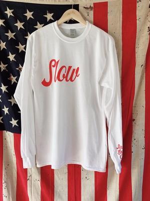 """BIG Slow"" Long Sleeve Shirt 【 White × Red 】"