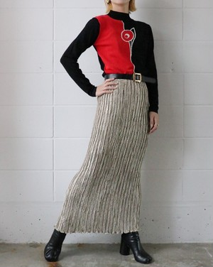 golden dots pleats skirt