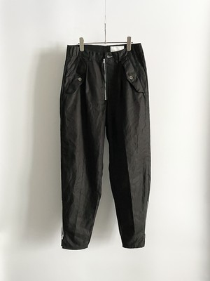 TrAnsference zip tapered baggy military pants - complete black garment dyed
