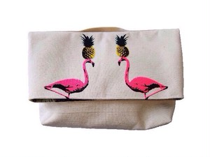 15BG001<CLUTCH BAG>FLAMINGO PINEAPPLE/WHITE