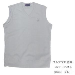 ゴルフプロ監修 ニットベスト【日本製】グレー17005