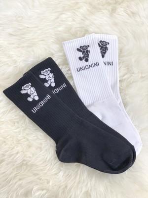 UNIONINI jacquard teddybear socks (black)(white) 19-21cm/22-24cm