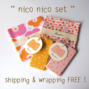 < 送料無料ギフトセット > nico nico set ( popy & flower butterfly & fuwa fuwa dot )- てぬぐい2枚 / スマホケース 2点【受注生産】