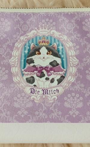 牛柄の猫さん三角ポーチ♬ パープルピンク