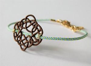 水引と組み紐のブレスレット あわじ編み color:ブラウン