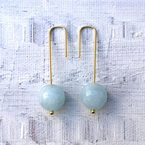 Crochet hook pierce / aquamarine (gold)