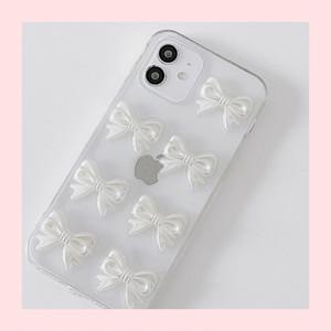 【お取り寄せ】ホワイト リボン クリアiPhoneケース