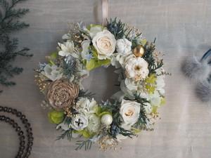 Petite Couronne<Vert blanc >*幸せ舞い込むミニリース *プリザーブドフラワー*花*ギフト*クリスマス*記念日*結婚祝い*冬の贈りもの*2018