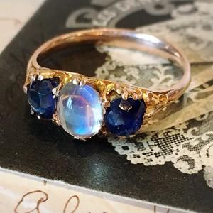 Sapphire & Moonstone Three Stone Ring