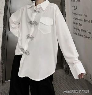 シャツ ブラウス 長袖 スタイリッシュ モダン スマート 白 ホワイト 黒 ブラック ユニセックス 個性 ピープス オルチャン 韓国ファッション 1603