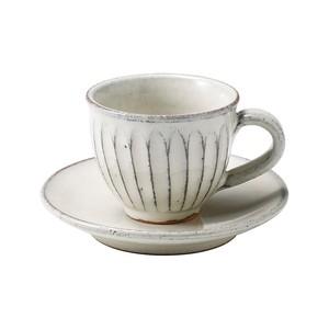 信楽焼 へちもん カップ&ソーサー 白釉彫 MR-3-3264