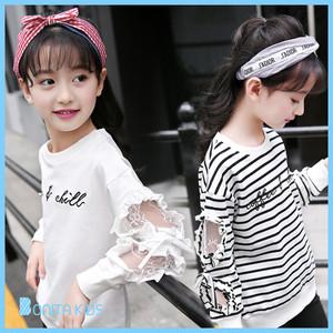 韓国子供服 女の子 ホワイト ボーダー レース リボン キッズ ガーリー ロンT 120cm 130cm 140cm 150cm 160cm