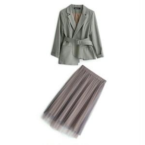 送料無料/スーツセットアップ/アシンメトリージャケット+プリーツロングスカート