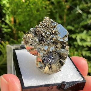 パイライト&スティブナイト レア共生鉱物 (黄鉄鉱 輝安鉱) bs074