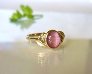 ピンクトルマリンキャッツアイのK14の指輪